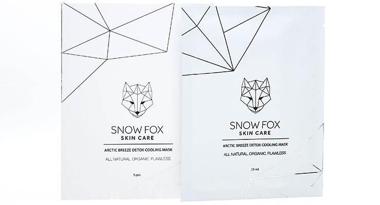 The Snowfox Arctic Breeze Detox Cooling Mask delivers peppermint oil and aloe vera leaf extract via an organic cotton facial sheet for a refreshing, skin-brightening sensation.