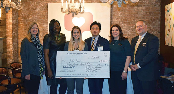 Rutgers Scholarship presentation (L-R): Jennifer Brady, Ukachi Anonyuo, Sofia Silva, Dr. Hae Chang Gea, PhD, Director and Program Chair, Packaging Engineering, Rutgers University, Annette Saenger, Benny Calderone