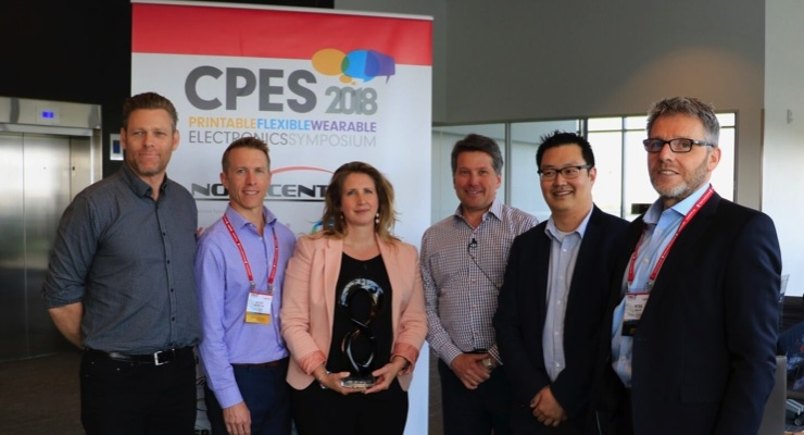 intelliFLEX CEO Peter Kallai, right, is joined by CPES2018 award winners, from left, Aaron Willinsky of Array Marketing, Scott McMillian of XCo, Michelle Chretien of Sheridan College, Mark Baldwin of TUKU, and James Lee of Jones Packaging. (Source: intelliFLEX)