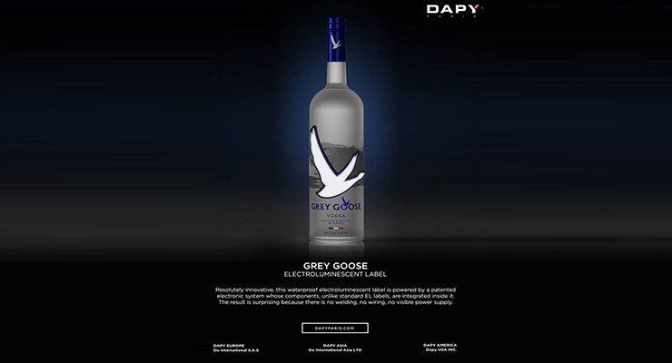 Grey Goose's electroluminescent label. (Source: Dapy)