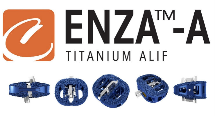 ENZA-A Titanium ALIF is an interbody fusion device consisting of a 3D printed titanium body with a roughened surface that encourages bone growth onto the cranial and caudal surfaces of the device.