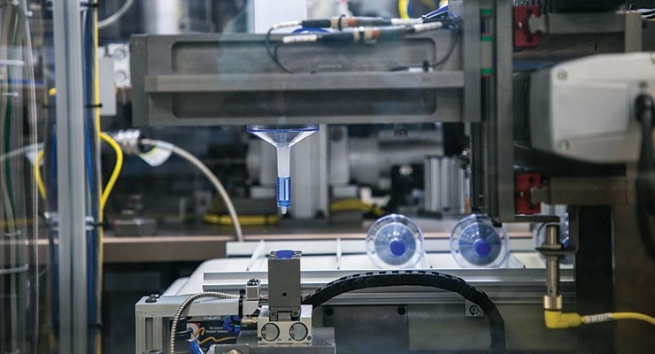 Automated contract device assembly of multiple GW molded parts. Image courtesy of GW Plastics Inc.