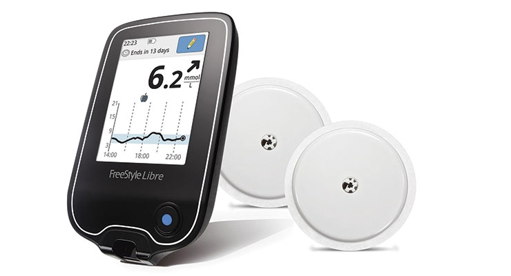 The FreeStyle Libre CGM does not require fingerstick blood glucose testing, even for calibration. Image courtesy of Abbott Laboratories.