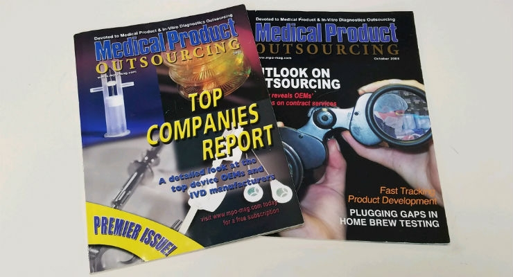 The first two issues of Medical Product Outsourcing, published in 2003.