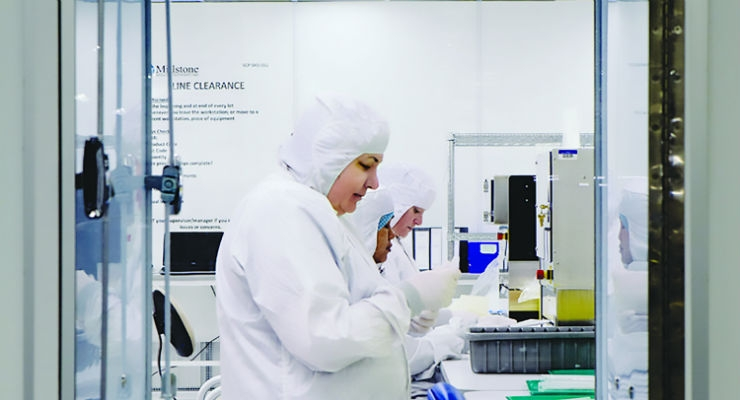 Device assembly and pouch sealing operations inside Millstone's Class 10,000/ISO7 cleanroom space. Image courtesy of Millstone Medical.