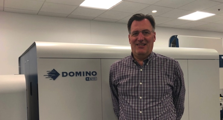 Tom Grencik with the Domino N610i UV inkjet press