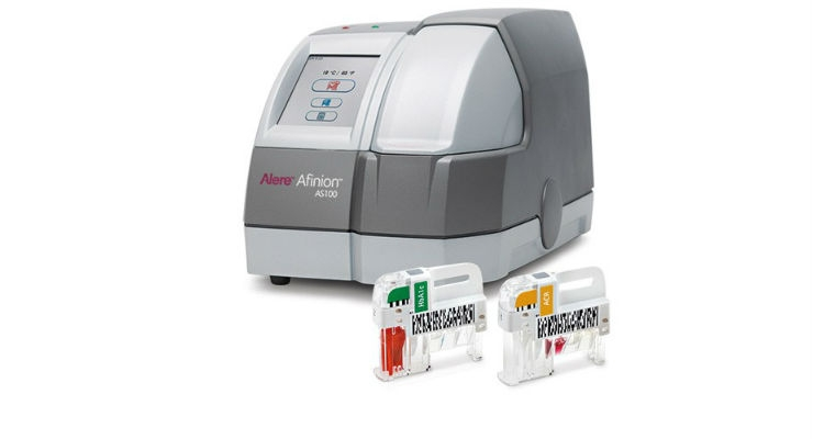 Cleared for use with the Afinion AS100 Analyzer (pictured above), the Afinion HbA1c Dx test will be available in the U.S. in late 2018. Image courtesy of Abbott.
