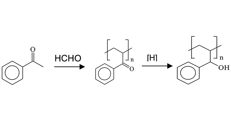 Figure 3. General reaction for the manufacture of ketone aldehyde resins.