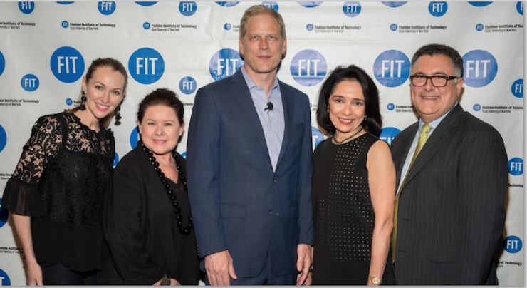 Center, Norman de Greve, CMO, CVS Health, the event's Keynote speaker, with left to right, Shannon Curtin, SVP, Consumer Beauty North America, Coty Inc.; Brooke Carlson, Professor, Cosmetics and Fragrance Marketing and Management Master's Degree program, FIT; Dr. Joyce E. Brown, President, FIT; and Stephan Kanlian, Chair, Cosmetics and Fragrance Marketing and Management Master's Degree Program, FIT.