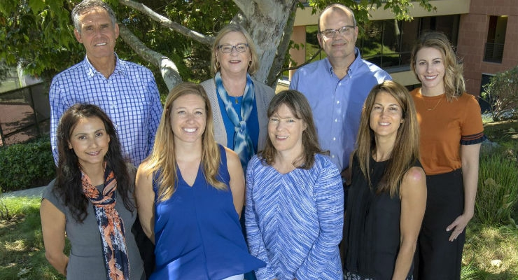 Study authors and coordinators included (front row, left to right) Reina Estrada, Lauren Ariniello, Jill Waalen, Elisa Felicone, (back row) Eric Topol, Gail Ebner, Steven Steinhubl and Melissa Peters. Image courtesy of Scripps Research.