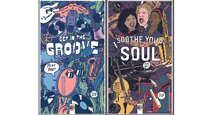 Two of the five interactive posters at the 2018 Xerox Rochester International Jazz Festival. (Source: Xerox)