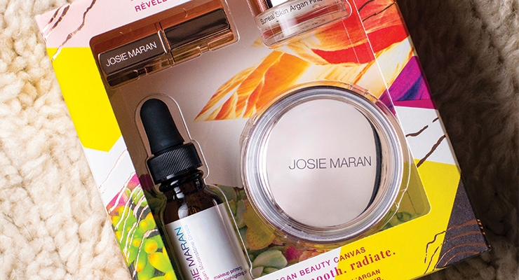 These Josie Maran cartons, created by Neenah, perfectly embody the brand's upscale yet natural positioning.