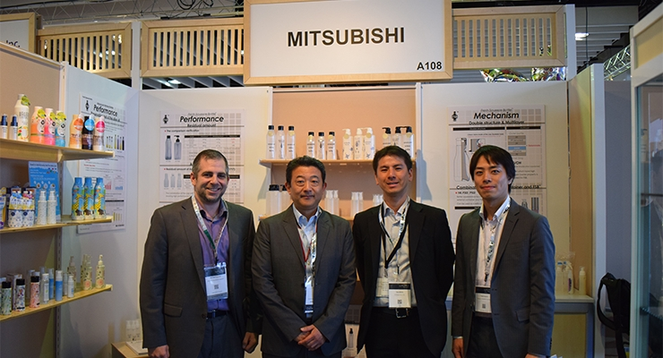 Mitsubishi stand (L-R): Michael Fuhrman/Mitsubishi /Living Essentials Group; Mitsumasa Takeda/Mitsubishi/Living Essentials Group; Taro Ikeda/Kyoraku Co., Ltd/ Medical and Food Development Division; Yuichi Hozumi/Mitsubishi/Paper&Packaging Business Living Essentials Group
