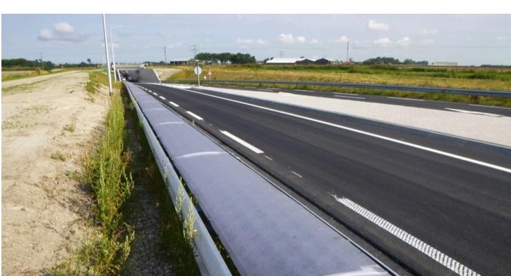 Flexible Solar Cells in Crash Barrier