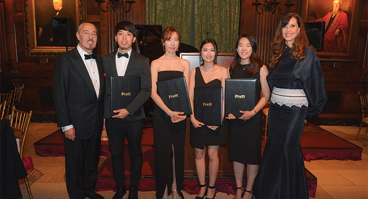 Marc Rosen and Carol Alt with the Merit Award Recipients, Pratt Institute (L-R): Huei-Tai Chen, Hyewon Im, Pandara Chanyatanavut, Hyeryun Nam