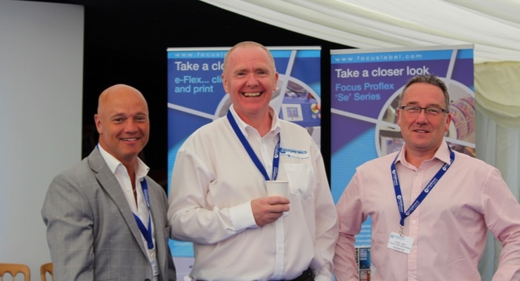Colin Phillips (Herma) and Antony Cotton (Focus) enjoy the informal networking opportunities with Neil Lilly.