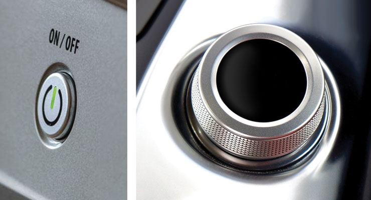 "Figure 1: At left, without height that protrudes out from the control panel, the On/Off button projects one function—""Push Me."" At right, with a height scaled to fit fingertip width and augmented with sidewall textures, this control clearly and unambiguously says ""Turn Me."" Images courtesy of Metaphase Design Group Inc."