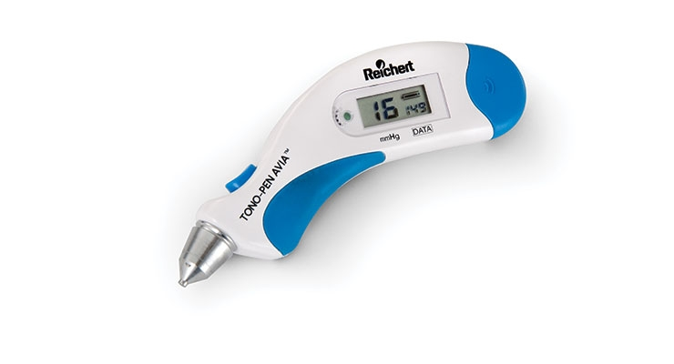 Figure 3: Color, texture, and non-slip elastomeric materials define all touch interaction points on this tonometer. The top On/Off button focuses the user's index finger and naturally aligns the other fingers to grasp the device along its extended blue underbelly that accommodates 5th to 95th percentile hand sizes. Image courtesy of Metaphase Design Group Inc.
