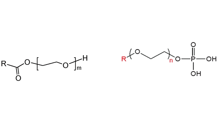 Figure 10. MyrjTM, ethoxylated fatty acids and CrodafosTM, ethoxylated phosphate esters.