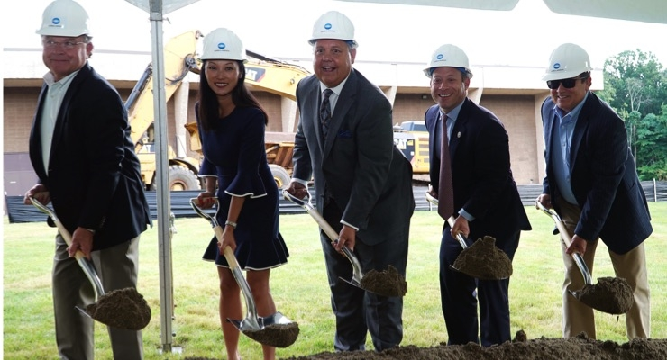 US Representative Josh Gottheimer, 5th Congressional District, joined several members of Konica Minolta's leadership team today in conducting an official ground breaking of a major expansion to the company's Ramsey campus. Pictured are, from left, John Thielke, EVP and CFO; Kay Fernandez, SVP, marketing; Rick Taylor, president and CEO; Rep. Gottheimer; and Kevin Kern, SVP, business intelligence services & product planning. (Source: Konica Minolta)