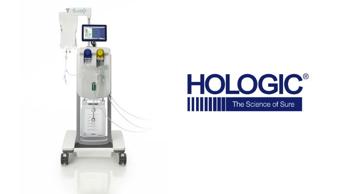 Equipped with an integrated MyoSure controller, the Fluent system can be an all-in-one fluid management and tissue removal system. Image courtesy of PRNewsfoto/Hologic.