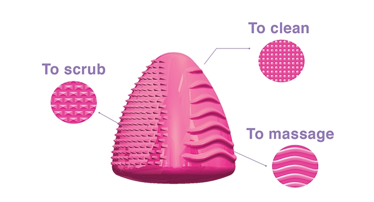 The three-sided silicone Clean Pyramid beauty tool,  from Cosmogen, cleans, exfoliates and massages.