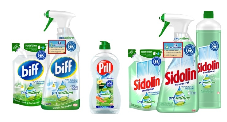 PET bottles of the Pro Nature range from Biff, Sidolin and Pril consist of 100% recycled plastic. Refill packs allow consumers to reuse the original packaging.