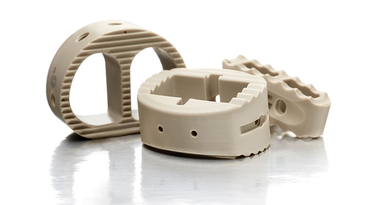 These CNC-milled PEEK devices are used in interbody fusion cages and are good examples of the contoured shape of medical implants. Image courtesy of Tegra Medical.