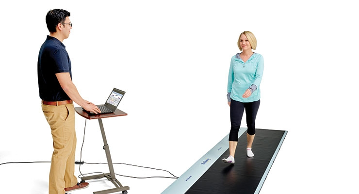 The Strideway system is a first-of-its-kind, modular walkway system to simplify gait analysis. The system provides kinetic, temporal, and spatial gait parameters, as well as pressure and force data for both clinical and research environments. Image courtesy of Tekscan.