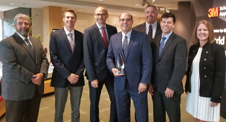 (L-R) Mike Terrazas, R&D sourcing manager, 3M; Kyle Lambert, business sourcing manager, 3M; Peter Eckes, EVP, BASF; Alan Weinstein, global key account manager & customer network leader for 3M, BASF; Eric Esboldt, key supplier manager, 3M; Mike Pcolinski, advanced materials research North America, BASF; Deb Fronczak, VP, Strategic Sourcing, 3M.