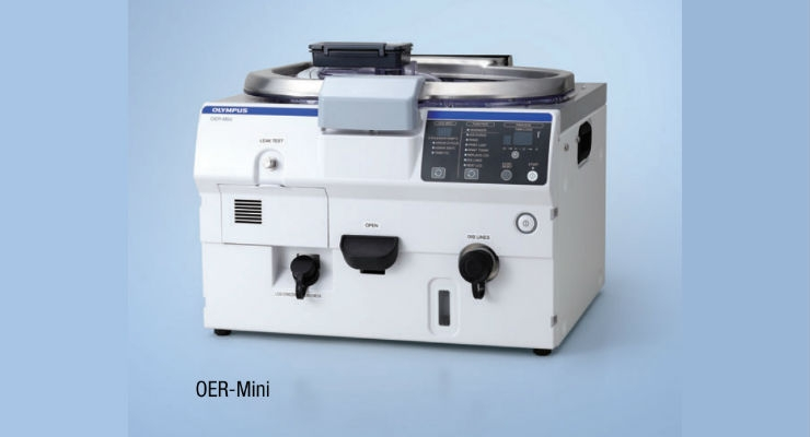 The OER-Mini tabletop endcoscope reprocessor helps to imrove reprocessing efficiency by removing some manual steps of reprocessing endoscopes through high level disinfecting. Image courtesy of Olympus.