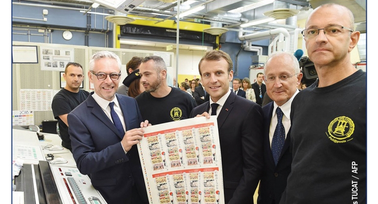 French President Macron selects the PS stamps he likes best.
