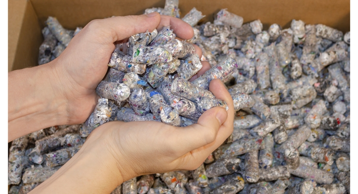 DLS works with Channeled Resources and others to turn label waste into fuel pellets.