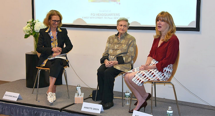 Panel Presentation: (R-L): Rose Marie Bravo, Annette Green, and Kate Oldham. Photo by: Bruce Borner