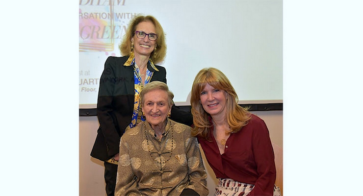 Rose Marie Bravo (standing), with Annette Green and Kate Oldham, following the presentation at FGI headquarters in NYC. Photo by Bruce Borner