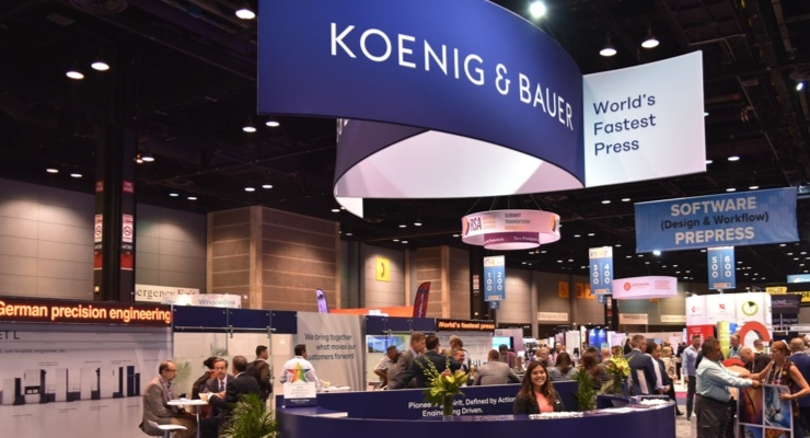 The newly-designed Koenig & Bauer (US) booth at PRINT 18 highlighted the firm's German-engineered press technology. (Source: Koenig & Bauer)
