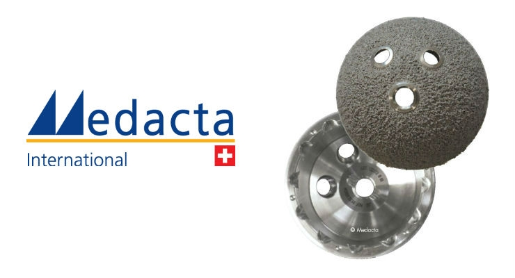 Mpact offers a system of hemispherical press-fit acetabular shells in titanium alloy that provides different solutions according to patient needs, addressing primary and revision indications. Image courtesy of Medacta.