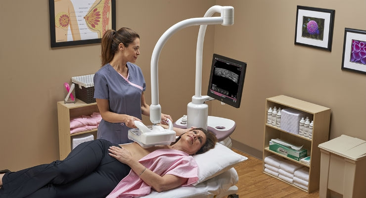 This device is the only FDA-approved ultrasound supplemental breast screening technology, specifically designed for detecting cancer in dense breast tissue. Image courtesy of GE Healthcare.