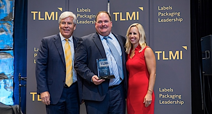 Craig Moreland, TLMI chairman (L), Mike Ring, VP of Digital Solutions at Gallus Heidelberg, and Tasha Ventimiglia, Labelexpo event director