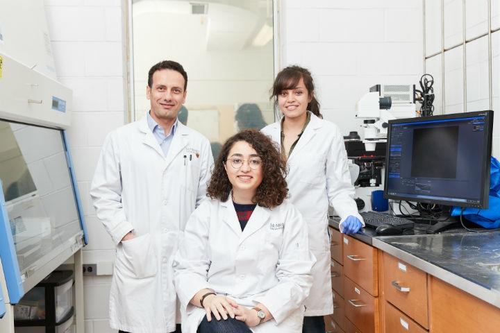 McMaster University researchers Tohid Didar, Maryam Badv and Sara M. Imani (seated).