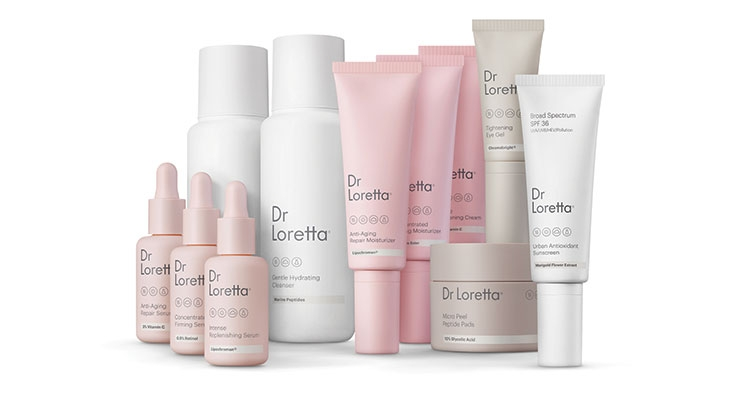Dr Loretta uses pale shades of pink, white, and clay for its bottles, jars and tubes.
