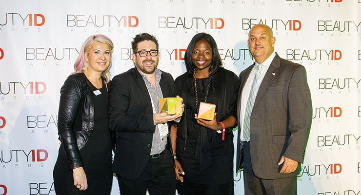 The awards for Package Innovation and The Grand Award for Color (Nail/Makeup; Prestige/Mass) went to HCT Group for Jeremy Scott X MAC. (L-R): Daniela Ciocan, marketing director, CPNA; Stephen Burditt, senior industrial designer, HCT Group; Ukachi Anonyuo, executive director, Estée Lauder Global Packaging & Project Development, The Estée Lauder Companies; Jay Gorga, publisher, Beauty Packaging magazine.