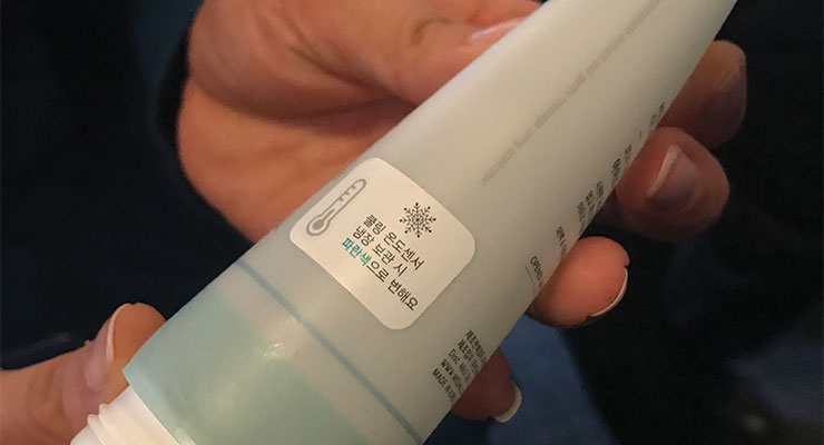 K-beauty brand Missha uses Yonwoo/PKG's Ice Tube for its Aqua Peptide Ice Soothing Ball, to soothe skin flare-ups.