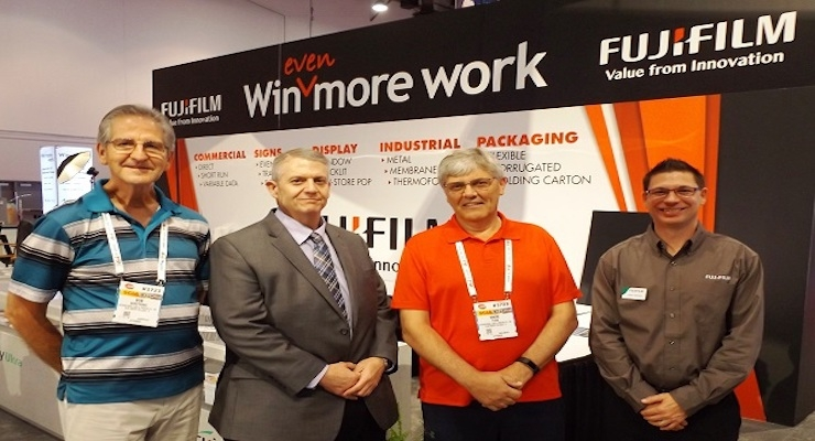 Bob Gorzynski, EVP and CFO, International Label Solutions, Paul Lynaugh, VP sales, North America sales, Fujifilm, Mark Turk, president and CEO, International Label Solutions, and Jason Kammes, high speed inkjet sales manager, Fujifilm.