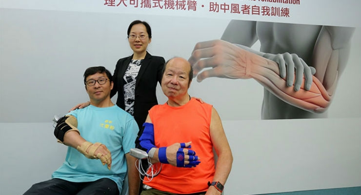 Two stroke patients have satisfactory rehabilitation progress after participating in the trial of the robotic arm developed by the team led by Dr Hu Xiao-ling (center). All images courtesy of PolyU.