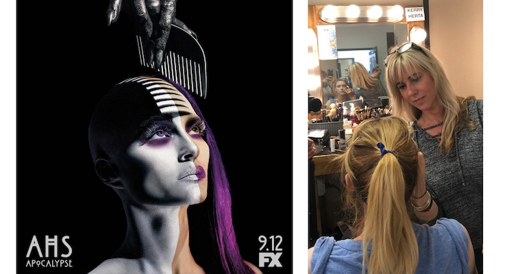 American Horror Story Apocalypse ad, courtesy of FX; Makeup artist Kerry Herta creating the look for the promotional campaign.