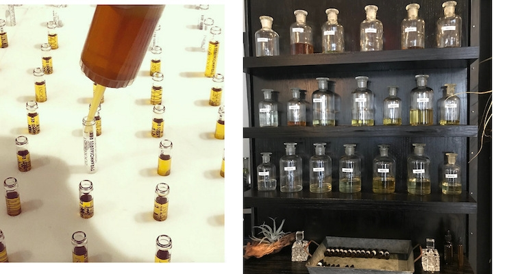 On left, Zoologist Perfumes fills sample vials, as seen on Instagram @zoologistperfumes. On right, a wall of unmarked scents to try, in flasks, at Perfumarie in NYC.