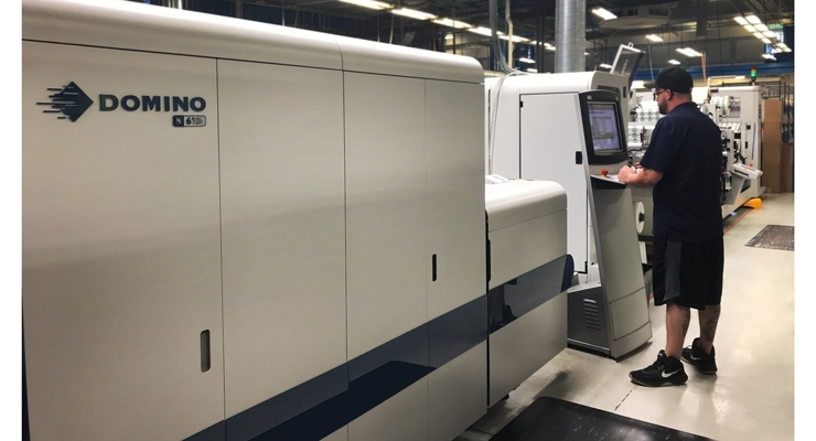 The Domino N610i UV inkjet press installed at Yerecic Label.