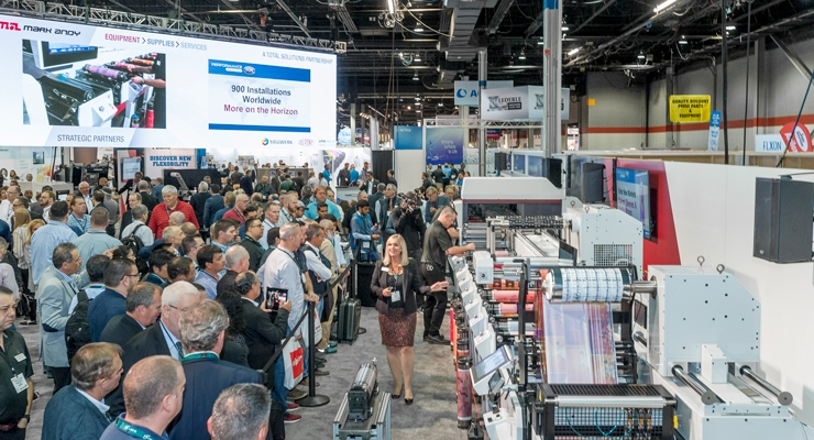 The Mark Andy booth at Labelexpo drew large crowds throughout the event for its demonstrations of flexo and digital hybrid presses.