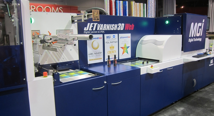 MGI JETvarnish finishing technology was showcased at the Konica Minolta booth.